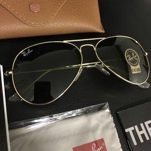New Ray-Ban Aviator RB3025 Gold Unisex Sunglasses